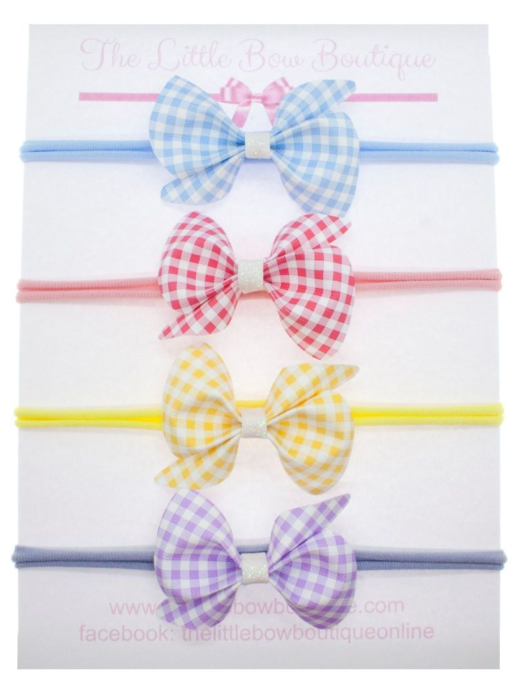 Gorgeous Ginghams Scrunchi Bow – Set of 4
