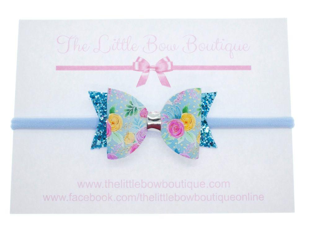 Blooms in Blue Regular Small Bow Headband
