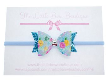 Blooms in Blue  Small Bow Headband