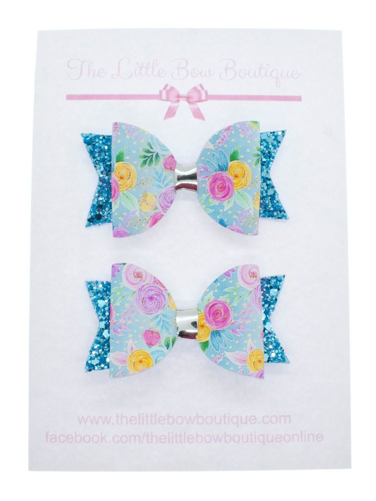 Blooms in Blue Set of 2 x Small Bows