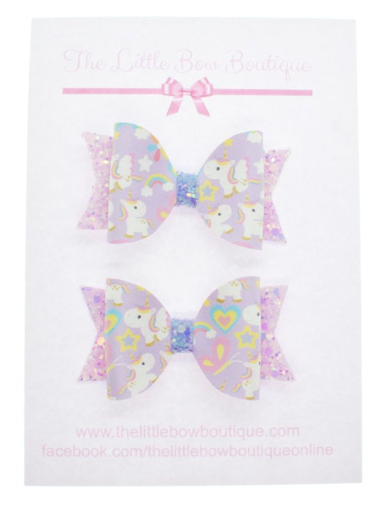 Baby Unicorns Set of 2 x Small Bows