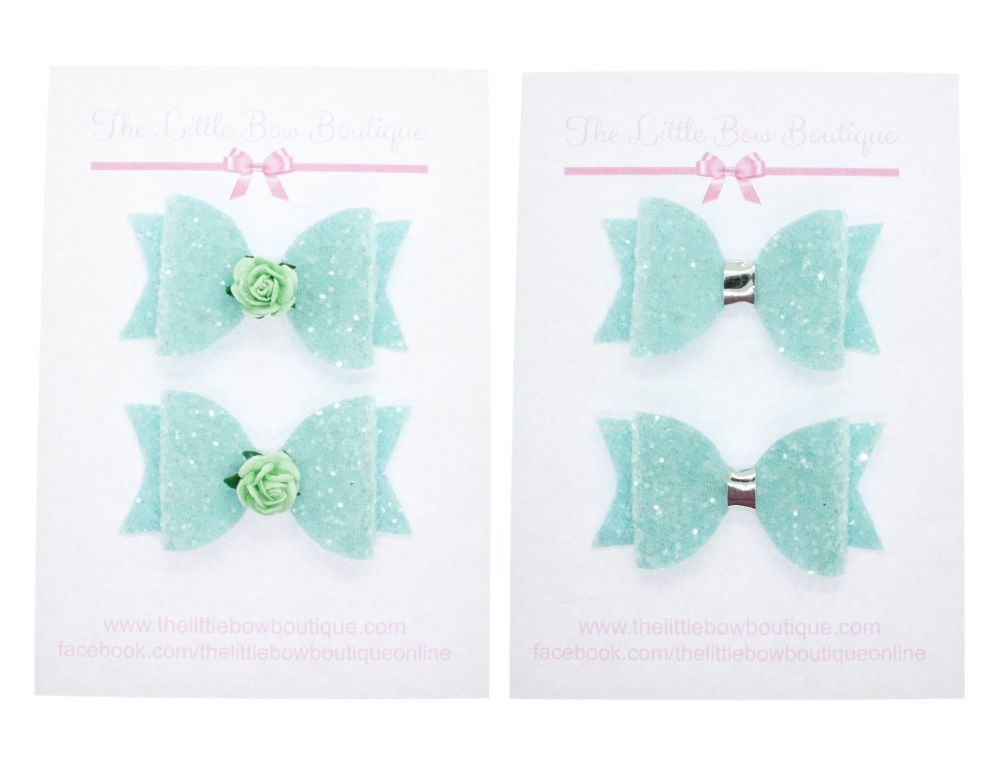 Ice Cream Sparkles Set of 2 x small bows – Mint