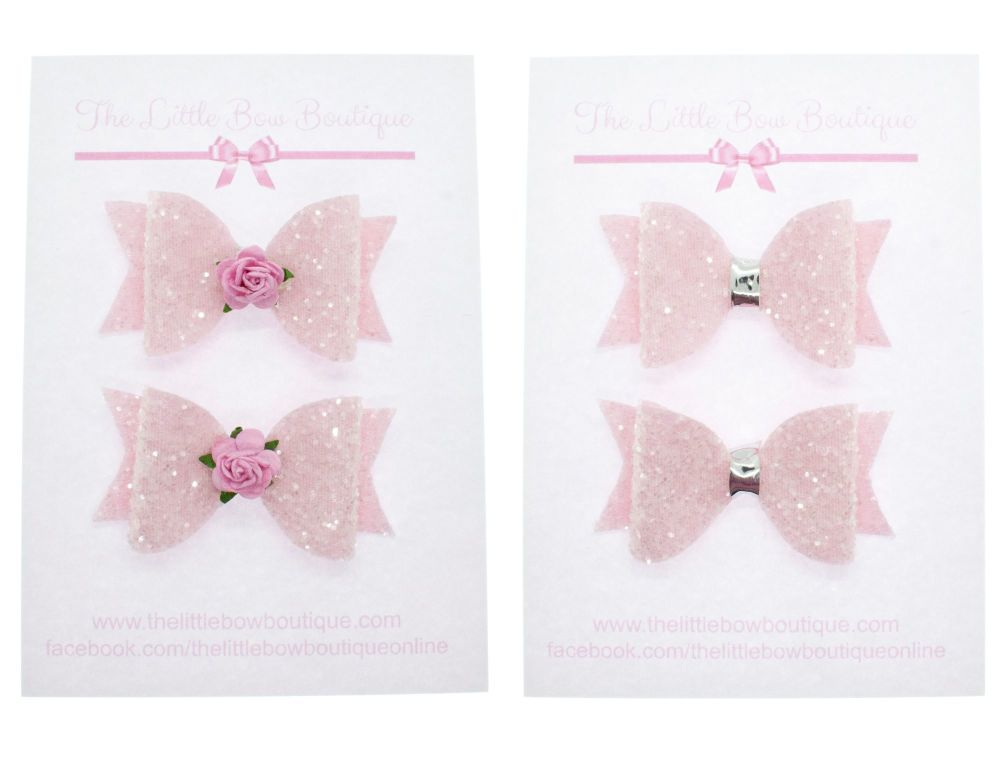 Ice Cream Sparkles Set of 2 x small bows – Pink