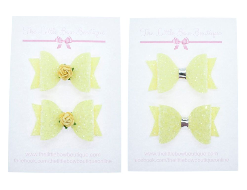 Ice Cream Sparkles Set of 2 x small bows – Lemon
