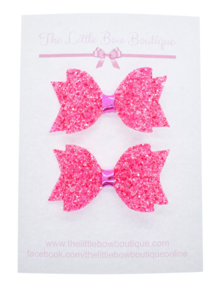 Summer Sparkles Set of 2 x Small Bows – Neon Pink