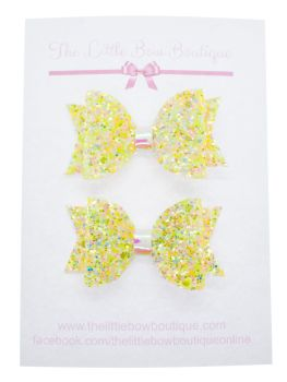 Summer Sparkles Set of 2 x Small Bows – Fizzy Lemon