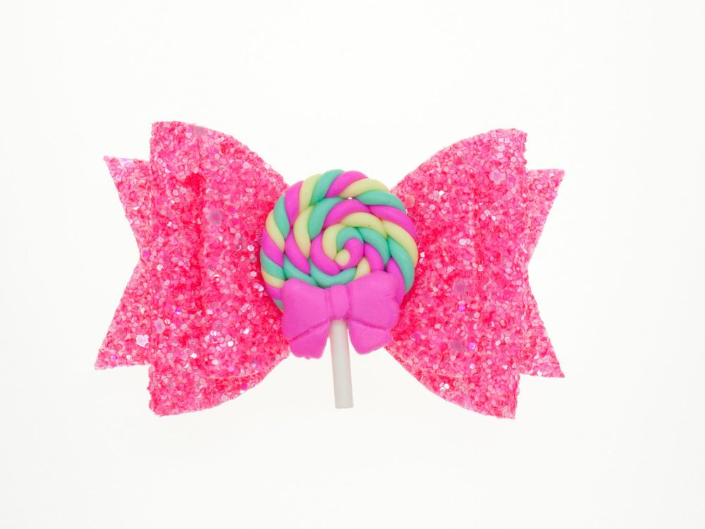 Lollipop Neon Swirl Bow
