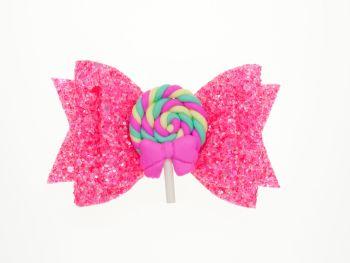 Lollipop Neon Swirl Bow