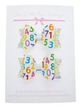 Cute Colourful Numbers  – Set of 2 x Small Bows