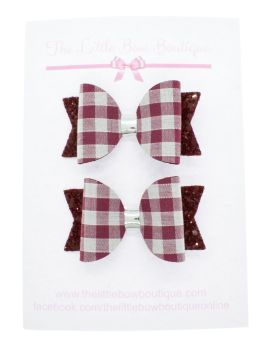 Gorgeous Gingham – 2 x Small Bows – Burgundy