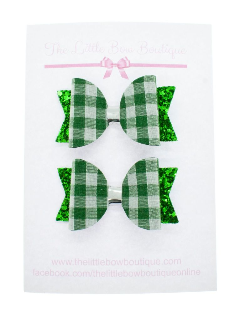 Gorgeous Gingham – 2 x Small Bows – Green