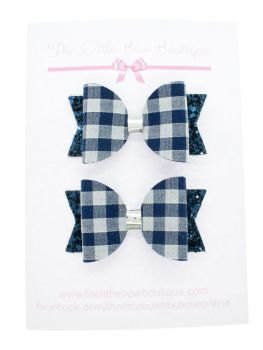 Gorgeous Gingham – 2 x Small Bows – Navy