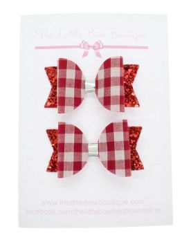 Gorgeous Gingham – 2 x Small Bows – Red