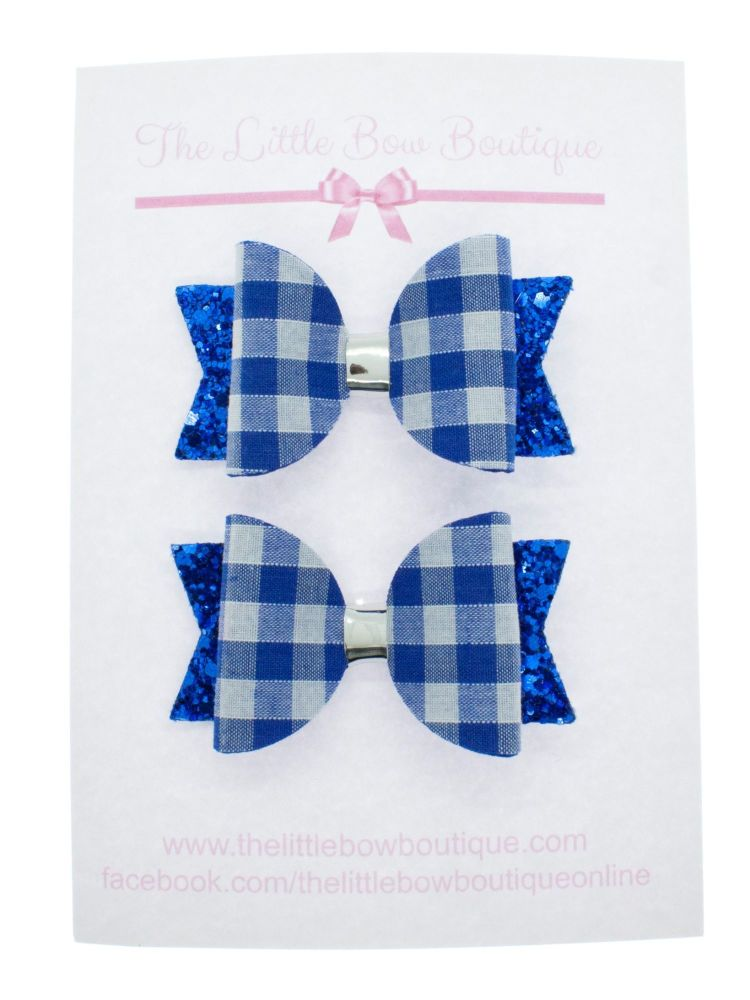 Gorgeous Gingham – 2 x Small Bows – Royal Blue