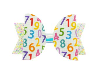 Cute Colourful Numbers  – Regular Size Bow