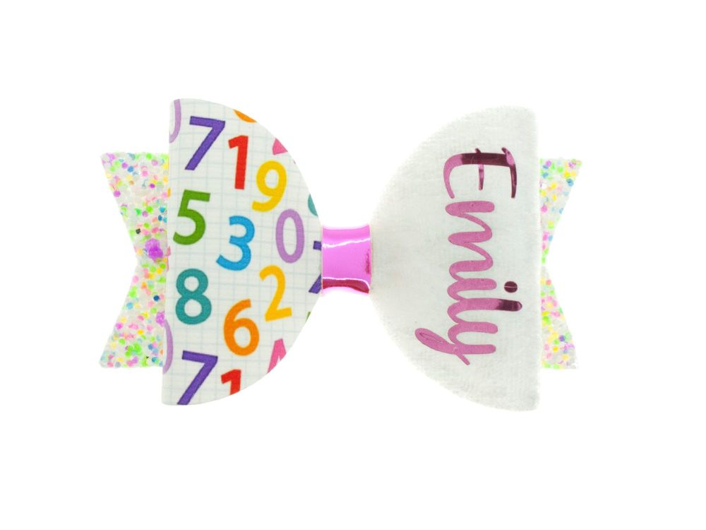 Cute Colourful Numbers– Personalised Name Bow