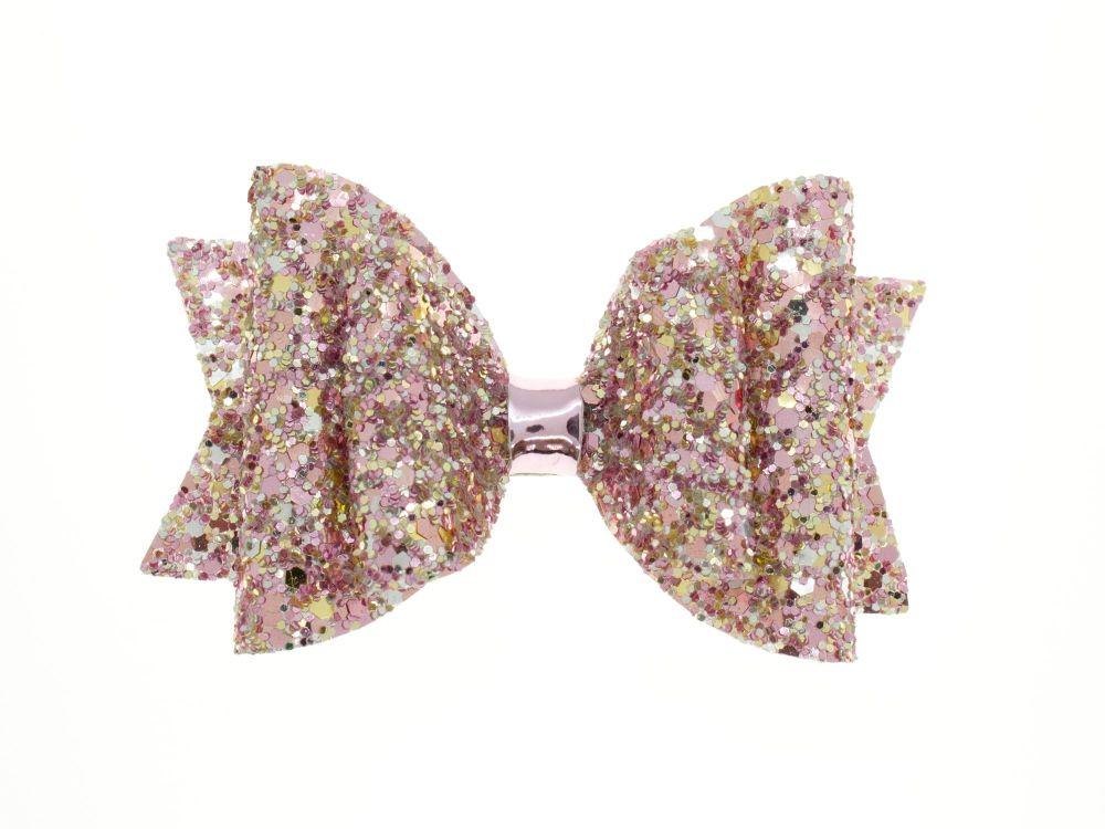 Beautiful Rose Glitter Regular Size Bow