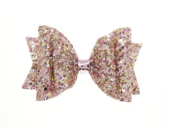 Beautiful Rose Glitter Regular Size Bow