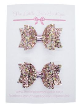 Beautiful Rose Glitter Set of 2 Small Bows