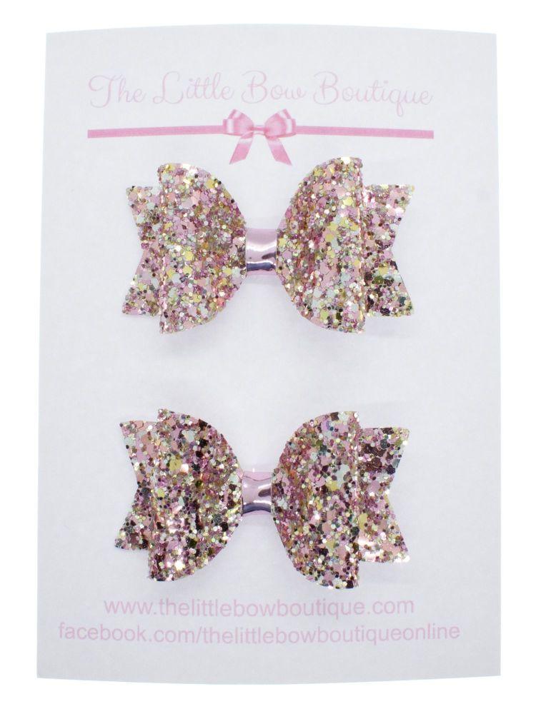 Beautiful Rose Glitter Set of 2 Small Bows