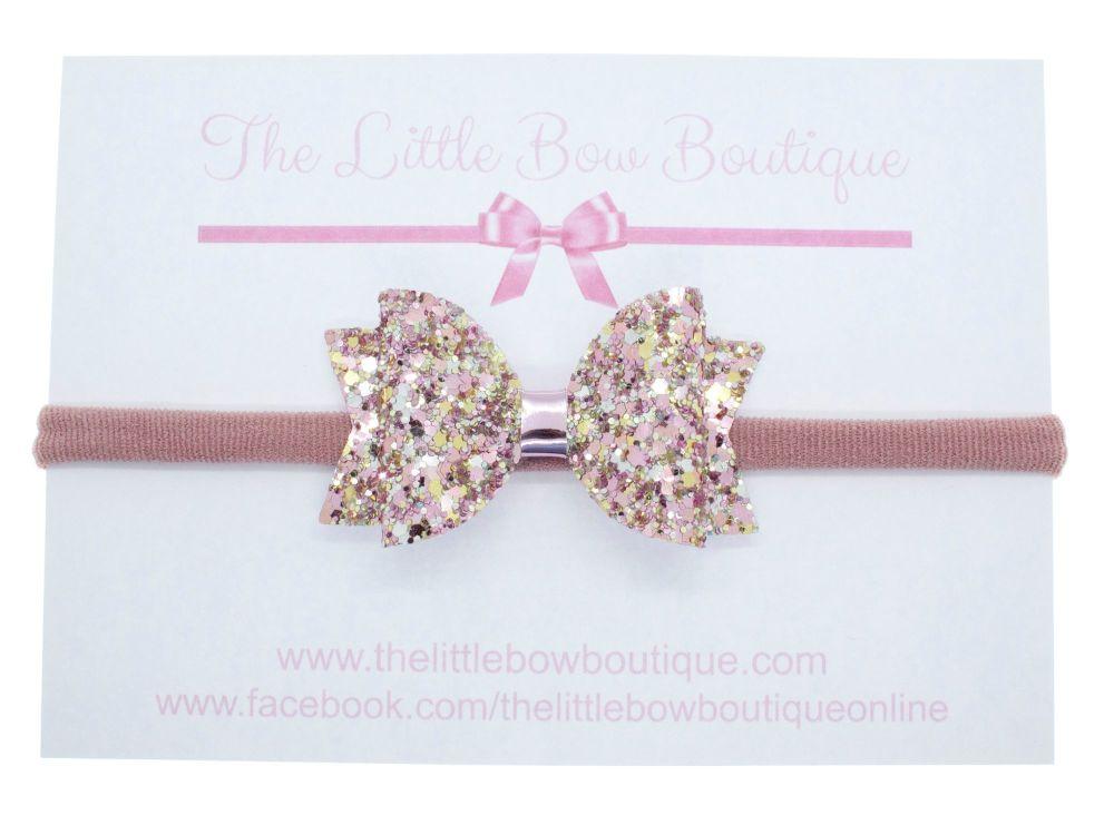 Beautiful Rose Glitter Bow Headband