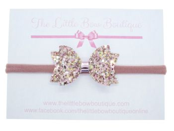 Beautiful Rose Glitter Bow Headband