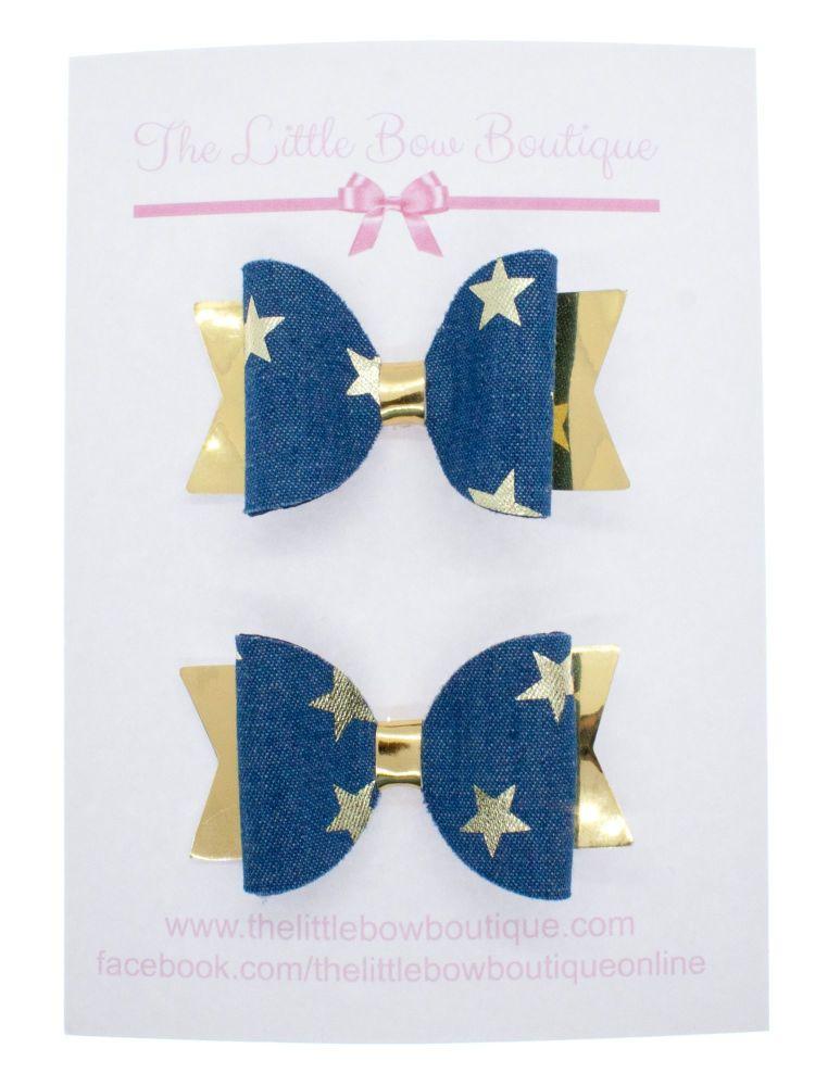 Denim Star Set of 2 Small Bows