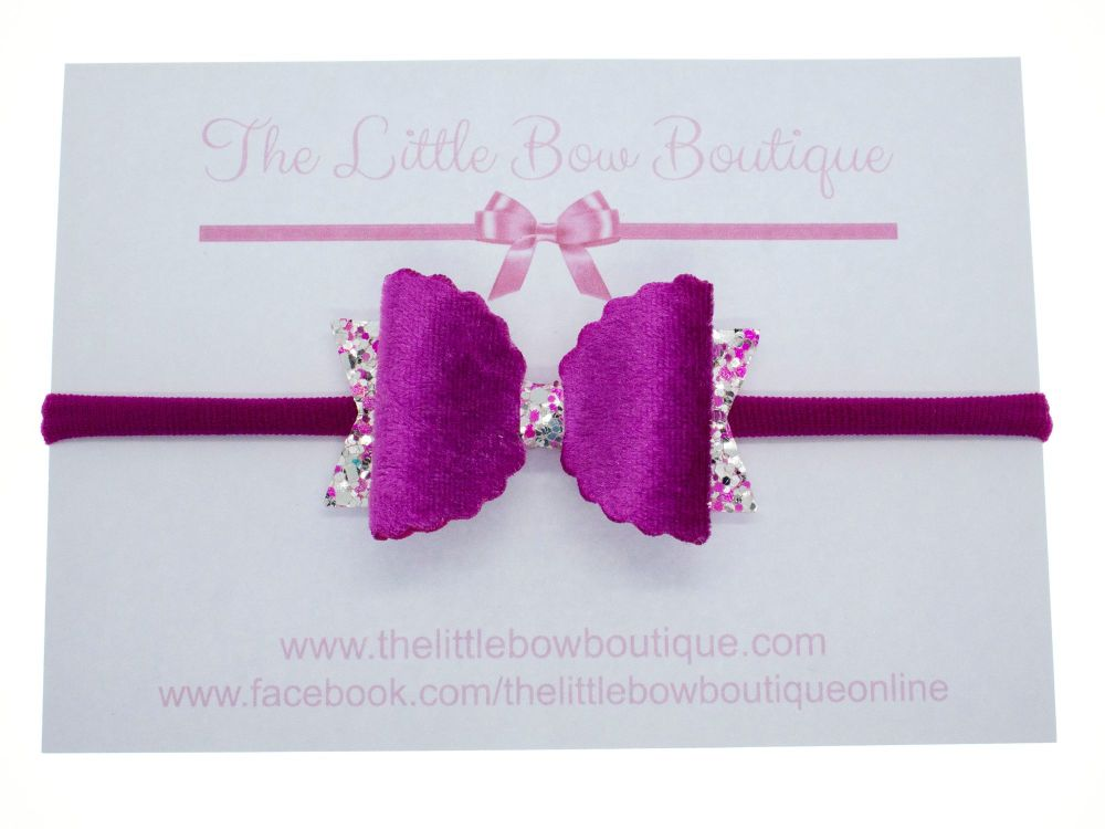 Gorgeous Pink Velvet Bow Headband