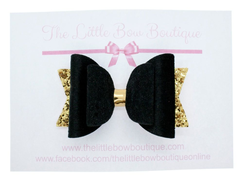 Luxury Black & Gold Regular Size Bow