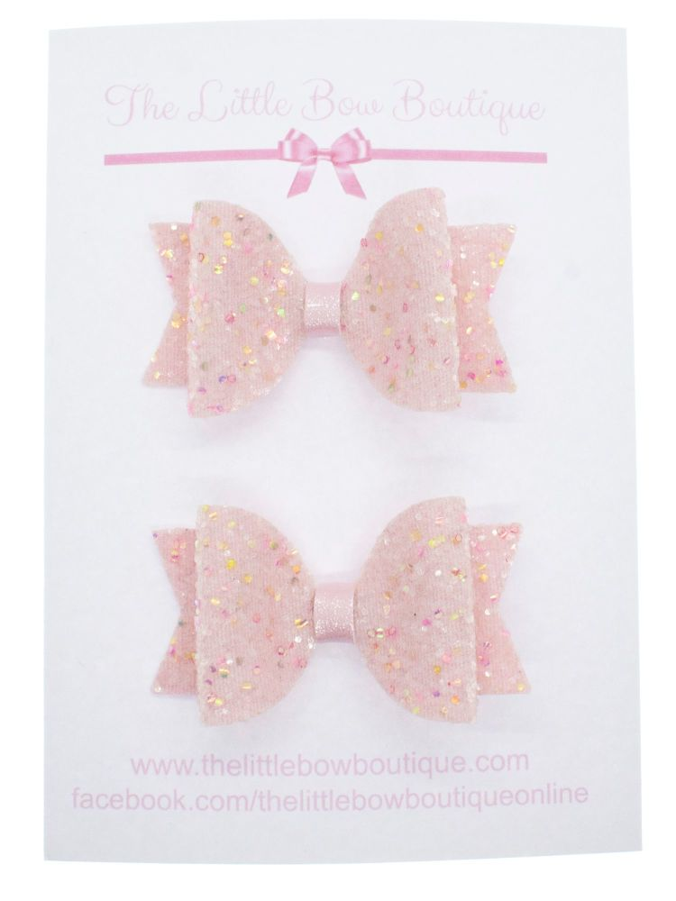 Cotton Candy Pink Set of 2 Small Bows