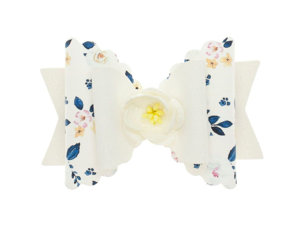 Autumn Blooms White Regular Size Bow