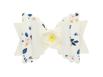 Autumn Blooms White Regular Size Bow