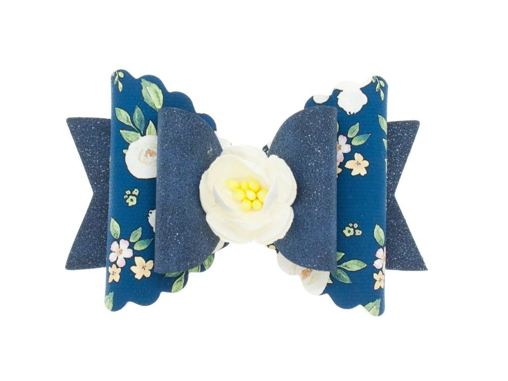 Autumn Blooms Navy Regular Size Bow