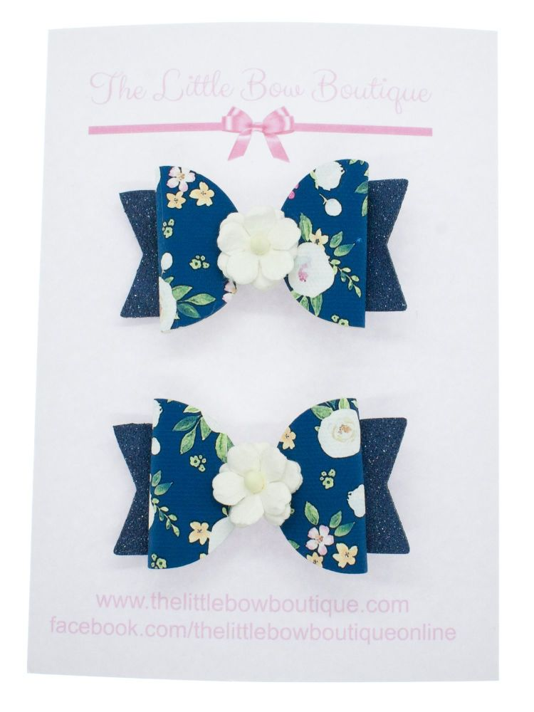 Autumn Blooms Navy Set of 2 Small Bows