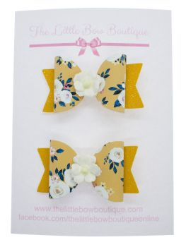 Autumn Blooms Mustard Set of 2 Small Bows