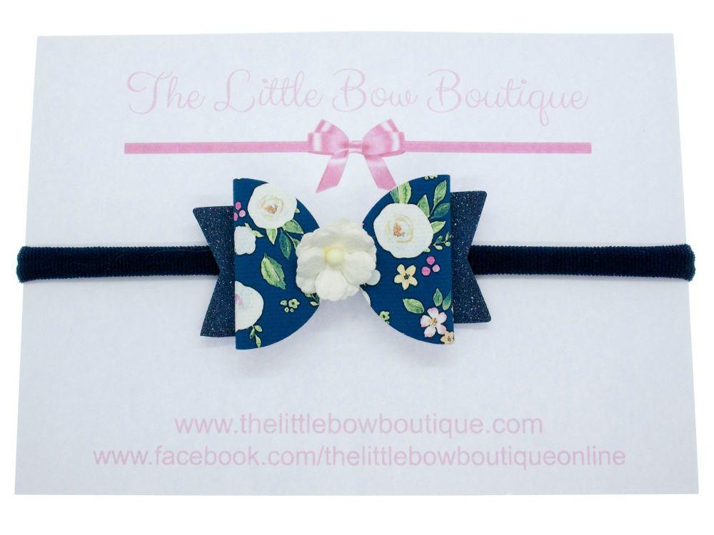 Autumn Blooms Navy Bow Headband