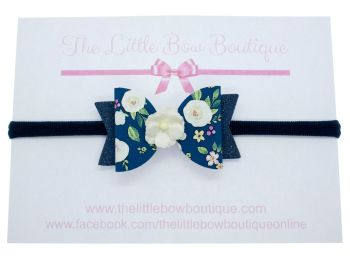 Autumn Blooms Navy Bow Headband