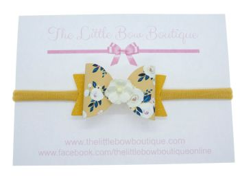 Autumn Blooms Mustard Bow Headband