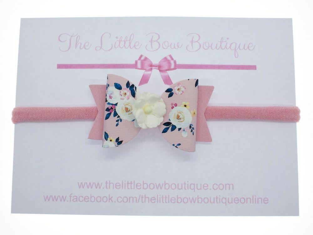 Autumn Blooms Pink Bow Headband