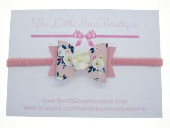 Autumn Blooms Pink Bow Headband