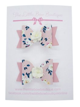 Autumn Blooms Pink Set of 2 Small Bows