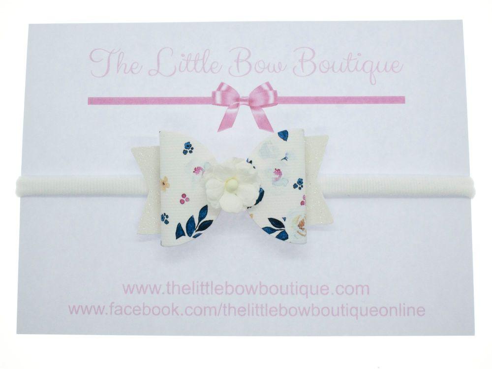 Autumn Blooms White Bow Headband