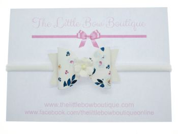 Autumn Blooms White Bow Headband
