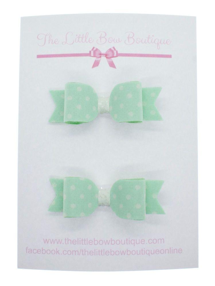 Itsy Bitsy Polka Dot Mint Set of 2 Small Bows