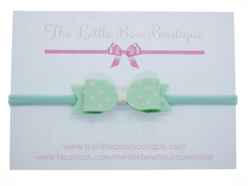 Itsy Bitsy Polka Dot Mint Bow Headband