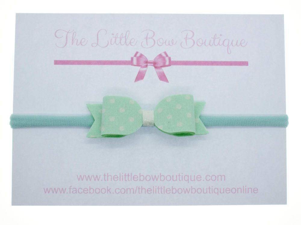 Itsy Bitsy Polka Dot Mint Bow Headband