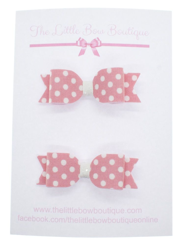 Itsy Bitsy Polka Dot Pink Set of 2 Small Bows