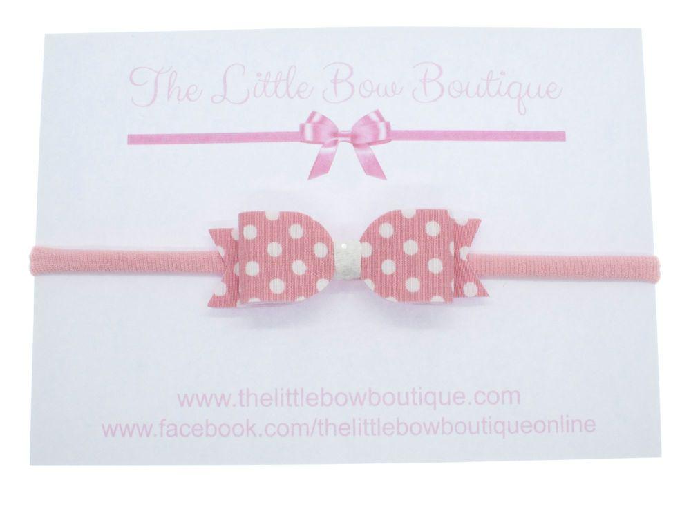 Itsy Bitsy Polka Dot Pink Bow Headband