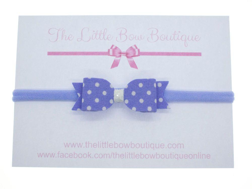 Itsy Bitsy Polka Dot Lilac Bow Headband