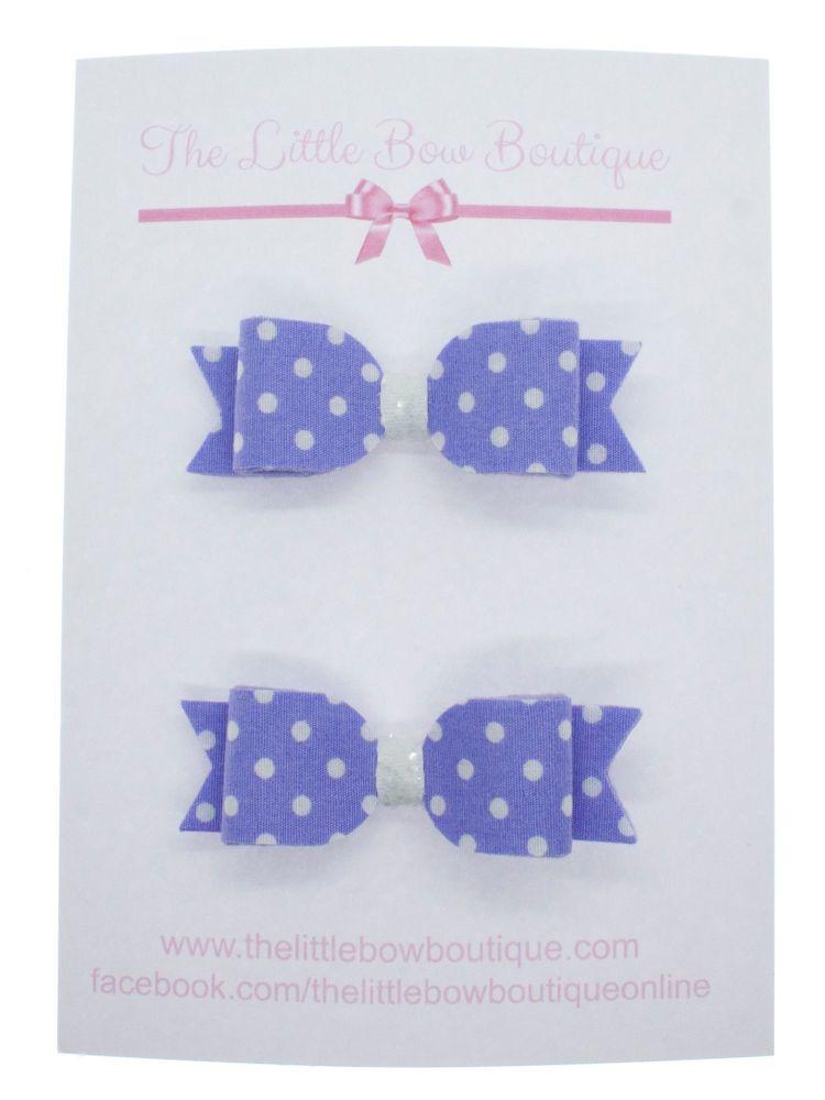 Itsy Bitsy Polka Dot Lilac Set of 2 Small Bows